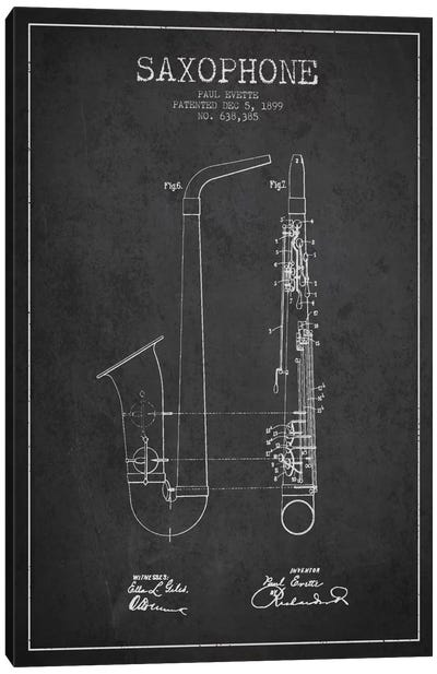 Saxophone Charcoal Patent Blueprint Canvas Print #ADP889