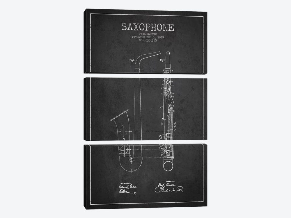 Saxophone Charcoal Patent Blueprint by Aged Pixel 3-piece Canvas Art Print