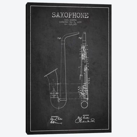 Saxophone Charcoal Patent Blueprint Canvas Print #ADP889} by Aged Pixel Canvas Print