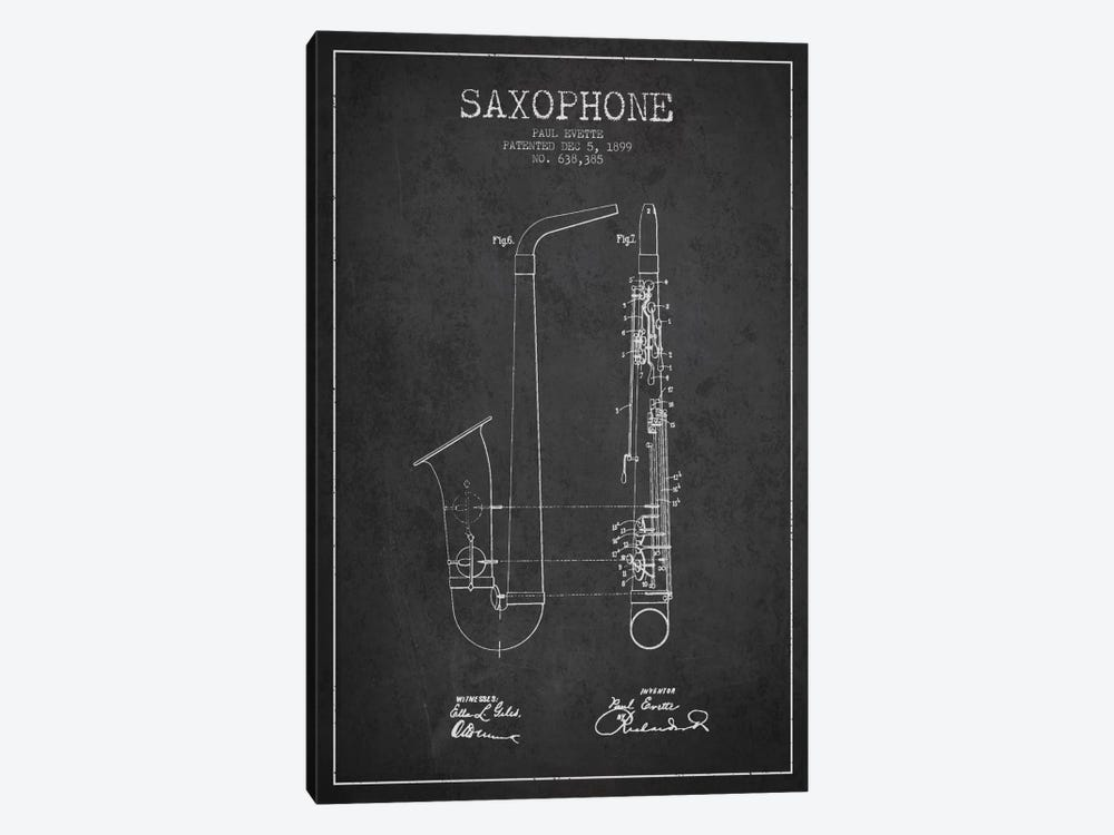 Saxophone Charcoal Patent Blueprint by Aged Pixel 1-piece Canvas Art Print