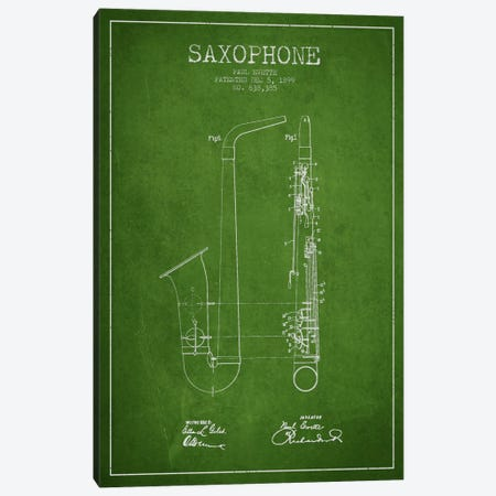 Saxophone Green Patent Blueprint Canvas Print #ADP890} by Aged Pixel Canvas Wall Art