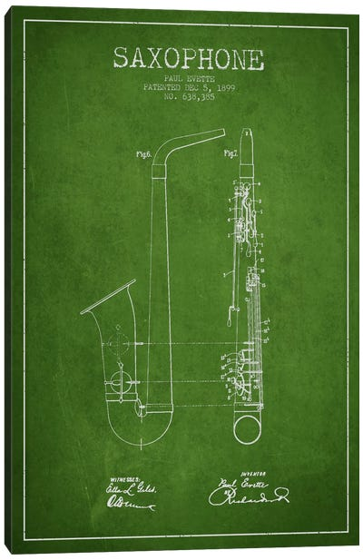 Saxophone Green Patent Blueprint Canvas Art Print