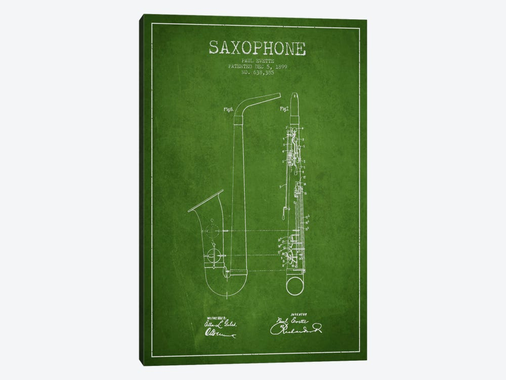 Saxophone Green Patent Blueprint by Aged Pixel 1-piece Art Print