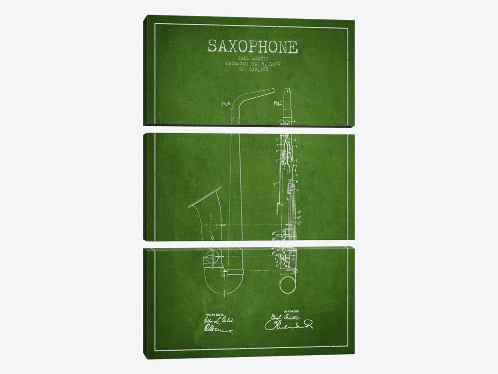 Saxophone Green Patent Blueprint by Aged Pixel 3-piece Canvas Print