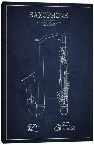 Saxophone Navy Blue Patent Blueprint Canvas Print #ADP891