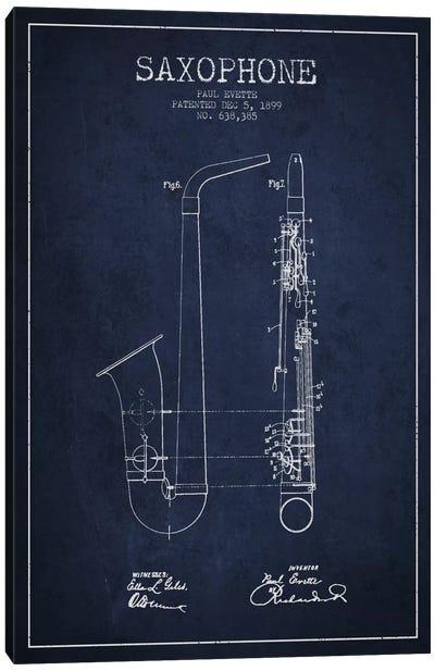 Saxophone Navy Blue Patent Blueprint Canvas Print #ADP891