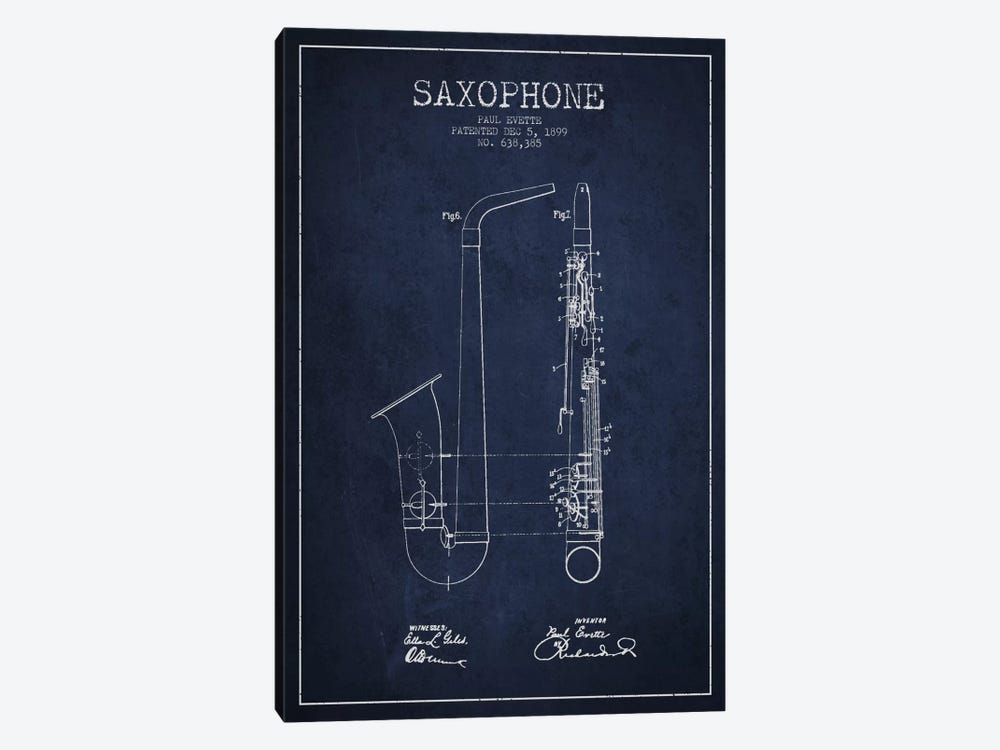 Saxophone Navy Blue Patent Blueprint by Aged Pixel 1-piece Canvas Art