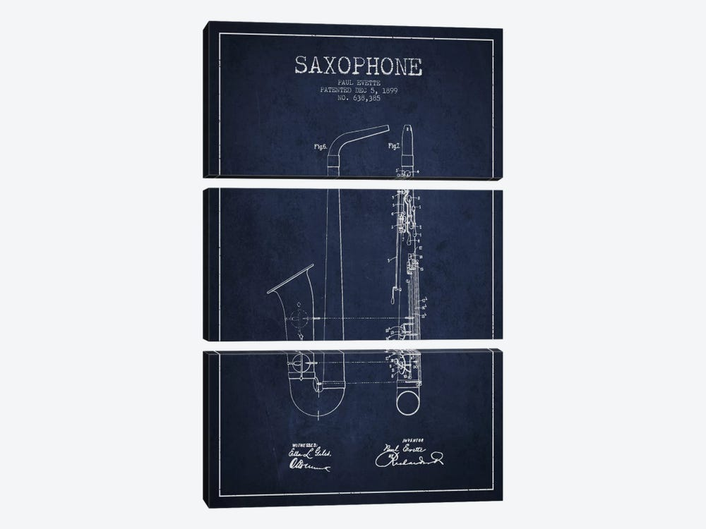 Saxophone Navy Blue Patent Blueprint by Aged Pixel 3-piece Canvas Wall Art