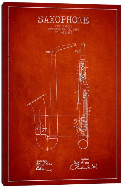 Saxophone Red Patent Blueprint Canvas Print #ADP892