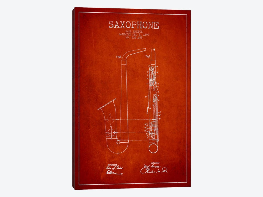 Saxophone Red Patent Blueprint by Aged Pixel 1-piece Canvas Art Print