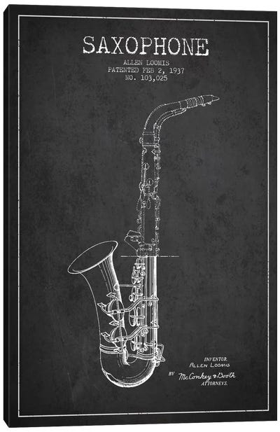 Saxophone Charcoal Patent Blueprint Canvas Print #ADP894
