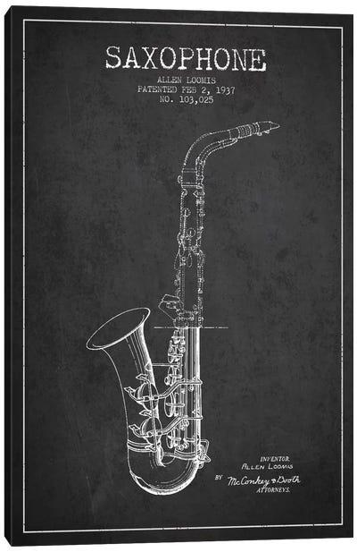 Saxophone Charcoal Patent Blueprint Canvas Print #ADP894