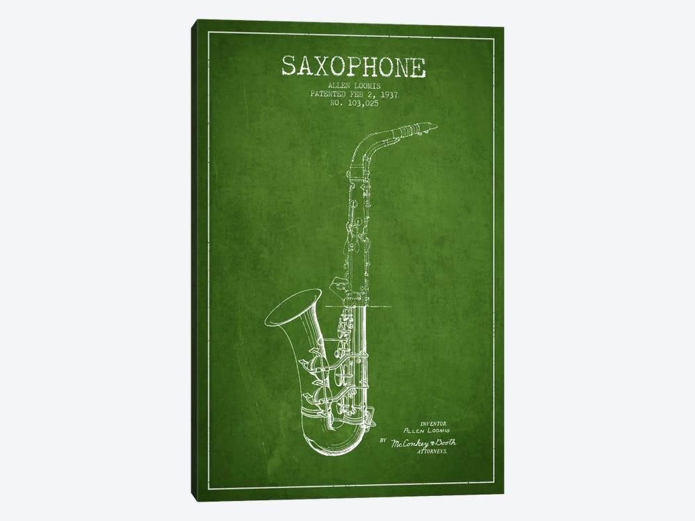 Saxophone Green Patent Blueprint by Aged Pixel 1-piece Canvas Wall Art