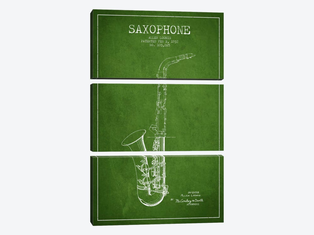 Saxophone Green Patent Blueprint by Aged Pixel 3-piece Canvas Artwork