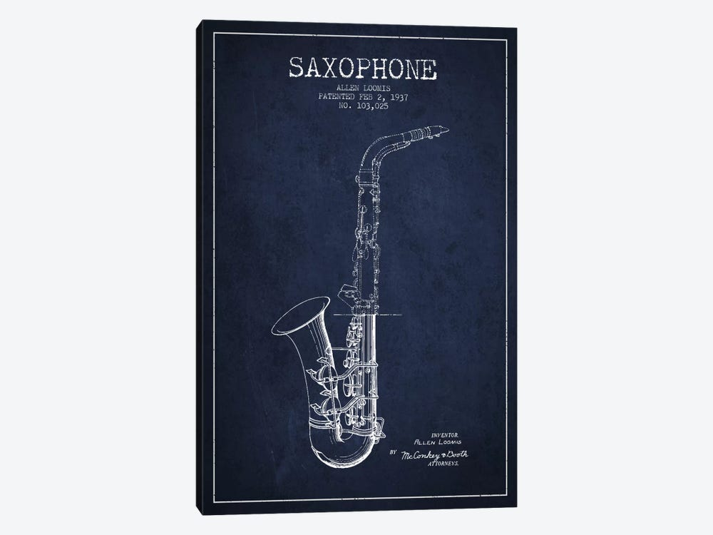 Saxophone Navy Blue Patent Blueprint by Aged Pixel 1-piece Canvas Print