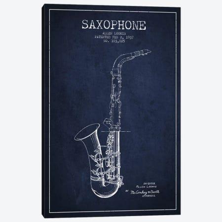Saxophone Navy Blue Patent Blueprint Canvas Print #ADP896} by Aged Pixel Art Print