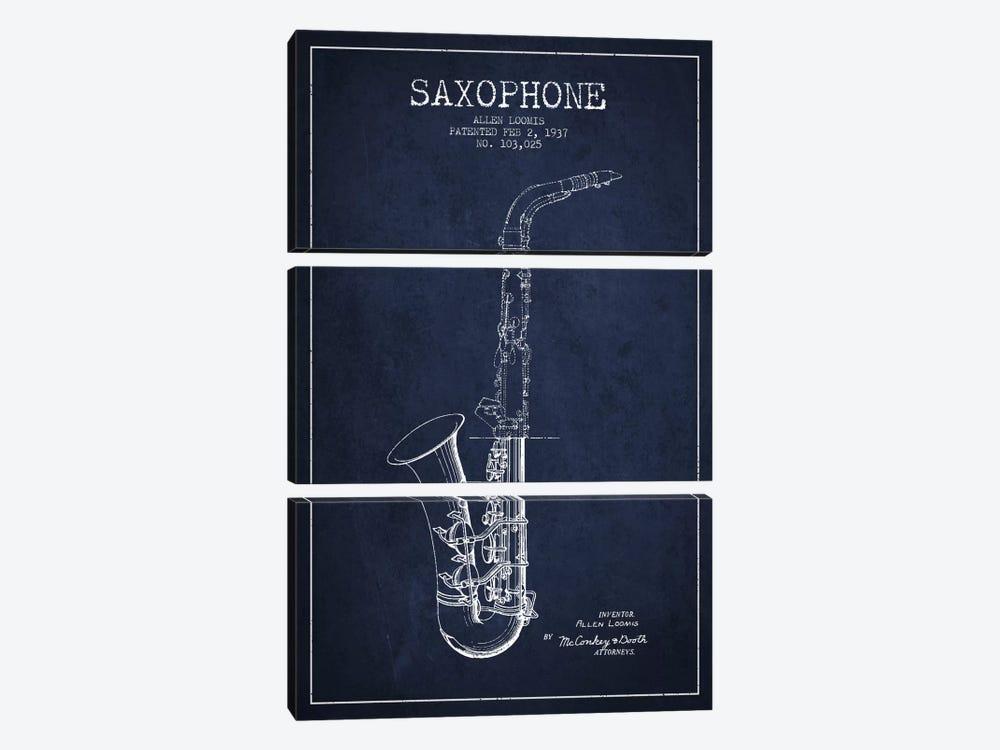 Saxophone Navy Blue Patent Blueprint by Aged Pixel 3-piece Art Print