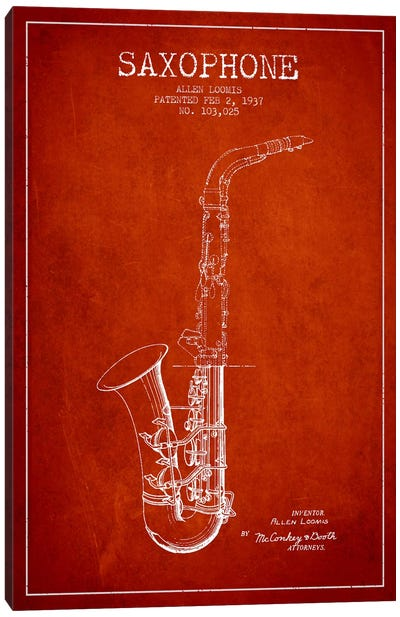 Saxophone Red Patent Blueprint Canvas Print #ADP897