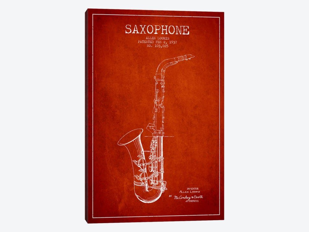 Saxophone Red Patent Blueprint 1-piece Canvas Artwork