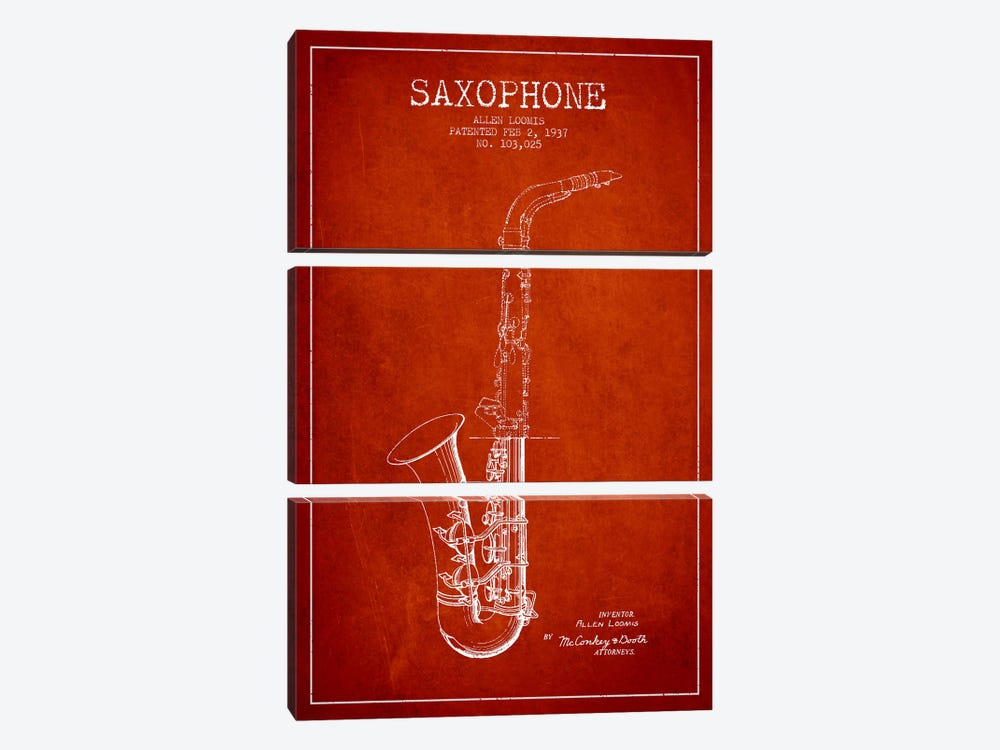 Saxophone Red Patent Blueprint by Aged Pixel 3-piece Canvas Artwork