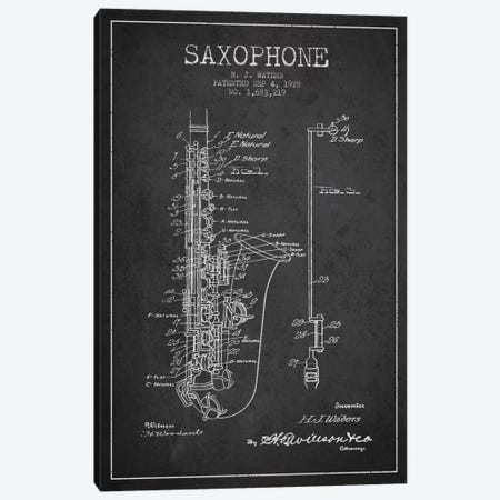 Saxophone Charcoal Patent Blueprint Canvas Print #ADP899} by Aged Pixel Canvas Wall Art