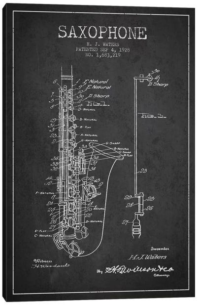 Saxophone Charcoal Patent Blueprint Canvas Art Print