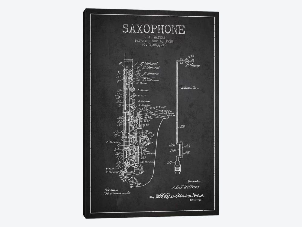 Saxophone Charcoal Patent Blueprint by Aged Pixel 1-piece Canvas Artwork