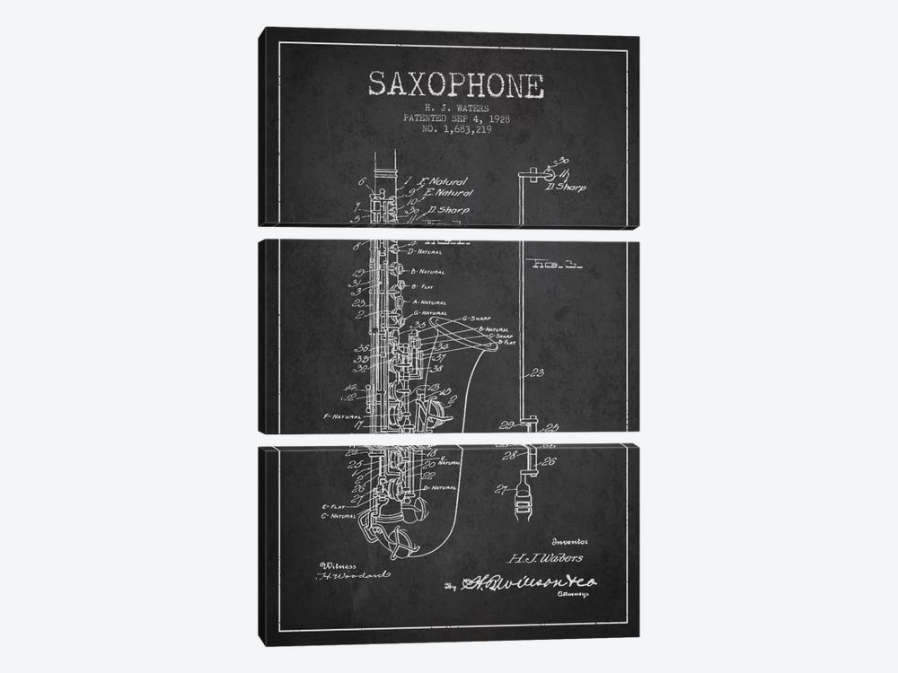 Saxophone Charcoal Patent Blueprint by Aged Pixel 3-piece Canvas Wall Art