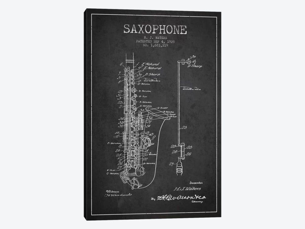 Saxophone Charcoal Patent Blueprint by Aged Pixel 1-piece Canvas Artwork