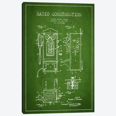 Bowers Radio Green Patent Blueprint Canvas Print #ADP8} by Aged Pixel Art Print
