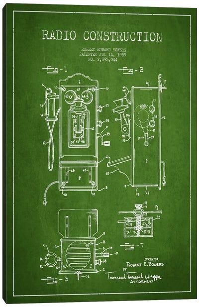 Bowers Radio Green Patent Blueprint Canvas Art Print