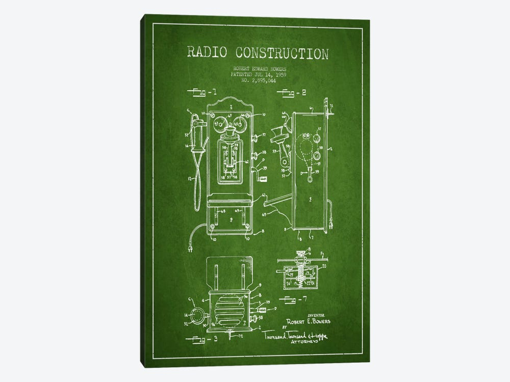 Bowers Radio Green Patent Blueprint by Aged Pixel 1-piece Canvas Art