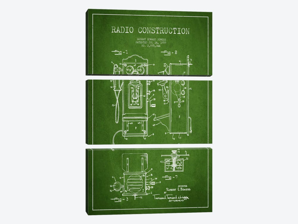 Bowers Radio Green Patent Blueprint by Aged Pixel 3-piece Canvas Wall Art