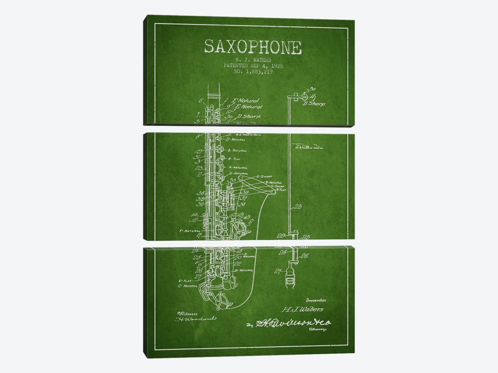 Saxophone Green Patent Blueprint by Aged Pixel 3-piece Canvas Art Print