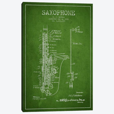 Saxophone Green Patent Blueprint Canvas Print #ADP900} by Aged Pixel Canvas Wall Art