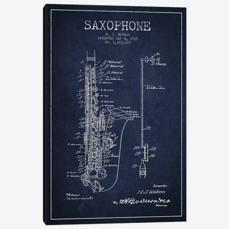 Saxophone Navy Blue Patent Blueprint Canvas Print #ADP901} by Aged Pixel Canvas Art