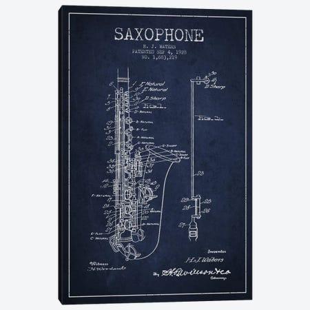 Saxophone Navy Blue Patent Blueprint Canvas Print #ADP901} by Aged Pixel Canvas Art