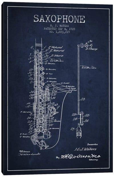 Saxophone Navy Blue Patent Blueprint Canvas Art Print