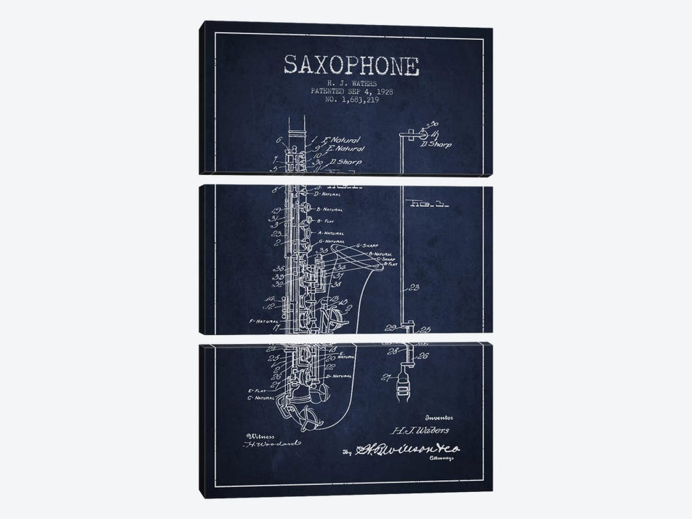 Saxophone Navy Blue Patent Blueprint by Aged Pixel 3-piece Canvas Art