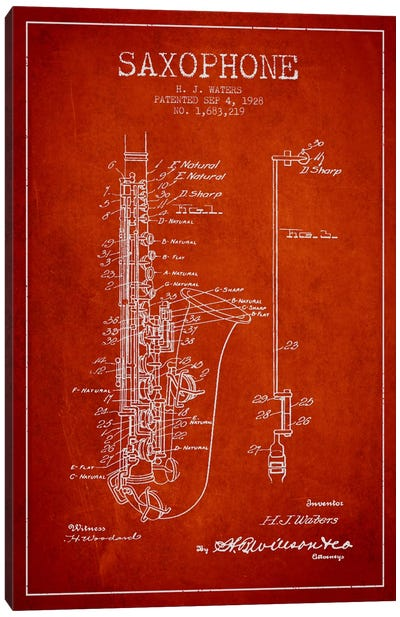 Saxophone Red Patent Blueprint Canvas Print #ADP902