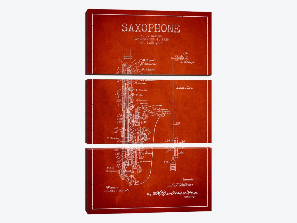 Saxophone Red Patent Blueprint by Aged Pixel 3-piece Art Print