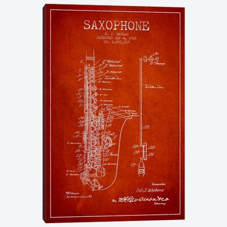 Saxophone Red Patent Blueprint Canvas Print #ADP902} by Aged Pixel Canvas Art