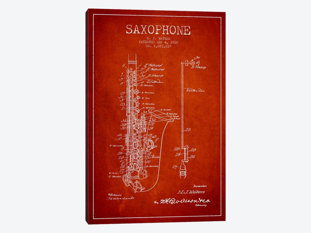 Saxophone Red Patent Blueprint by Aged Pixel 1-piece Canvas Print