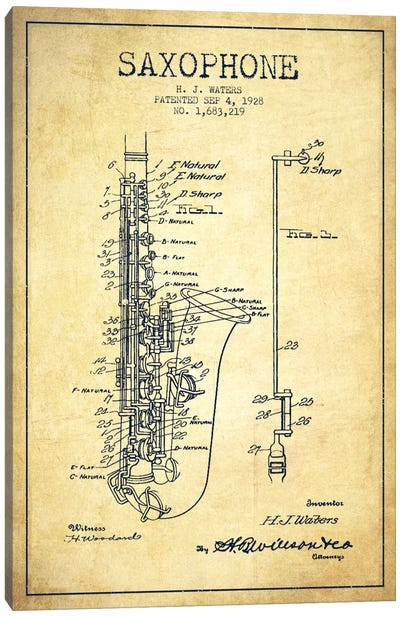 Saxophone Vintage Patent Blueprint Canvas Print #ADP903