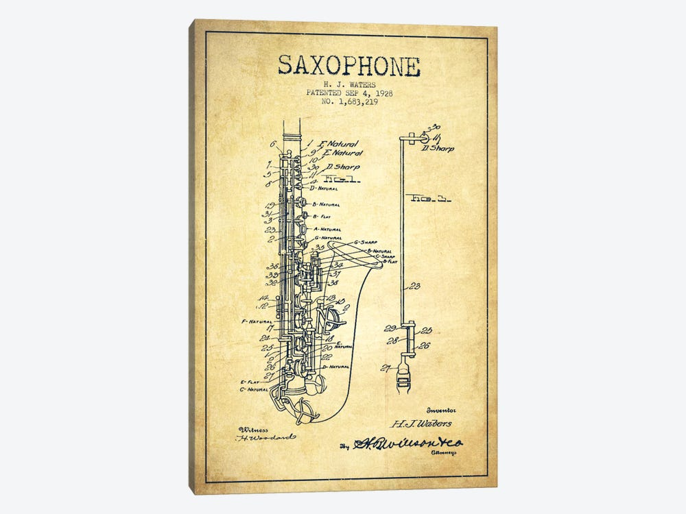 Saxophone Vintage Patent Blueprint Canvas Artwork by Aged Pixel ...