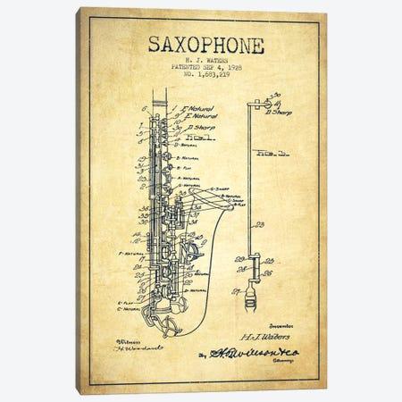 Saxophone Vintage Patent Blueprint Canvas Print #ADP903} by Aged Pixel Canvas Wall Art