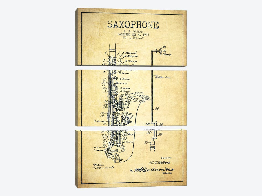 Saxophone Vintage Patent Blueprint by Aged Pixel 3-piece Canvas Art