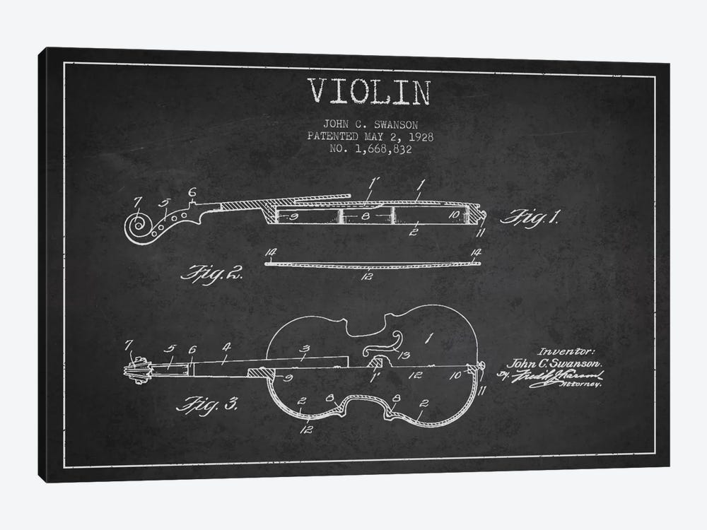 Violin Charcoal Patent Blueprint by Aged Pixel 1-piece Canvas Print