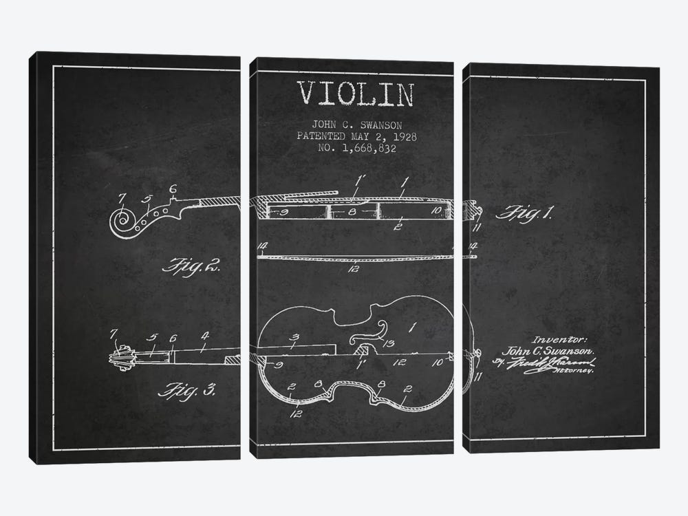 Violin Charcoal Patent Blueprint by Aged Pixel 3-piece Canvas Print