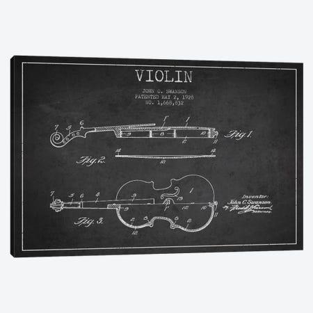 Violin Charcoal Patent Blueprint Canvas Print #ADP904} by Aged Pixel Canvas Art Print